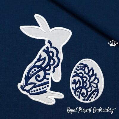 Ажурный Кролик с яйцом Дизайны машинной вышивки с Аппликацией - 3 размера
