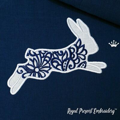Ажурный Кролик Дизайн машинной вышивки с Аппликацией - 3 размера