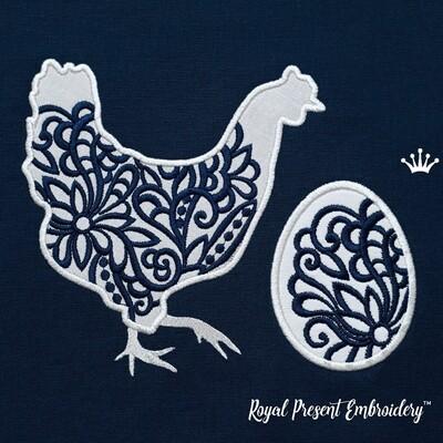 Ажурная Курочка с яйцом Дизайны машинной вышивки с Аппликацией - 3 размера