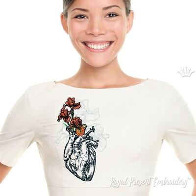 Человеческое Сердце с Ирисами Дизайн машинной вышивки - 7 размеров