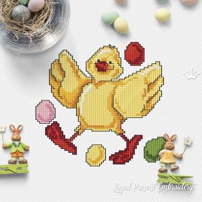Пасхальный Цыпленок Дизайн машинной вышивки крестом