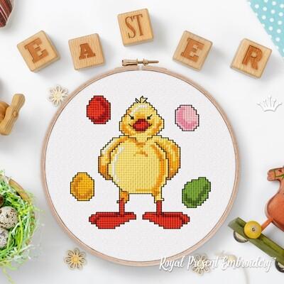Пасхальный Цыпленок с яйцами Дизайн машинной вышивки крестом