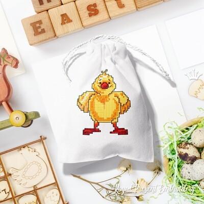 Маленький Пасхальный Цыпленок Дизайн машинной вышивки крестом