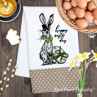 Пасхальный Кролик в шляпе Дизайн машинной вышивки - 3 размера
