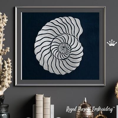 Спиралевидная Ракушка дизайн машинной вышивки - 5 размеров