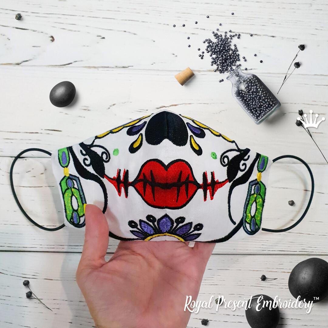 Маска для лица Сахарный Череп с сережками Дизайн машинной вышивки - 2 размера