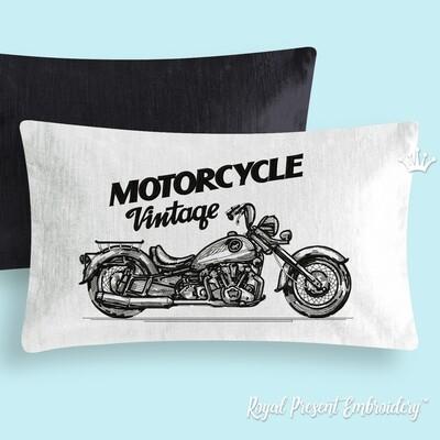 Винтажный Мотоцикл Дизайн машинной вышивки - 6 размеров