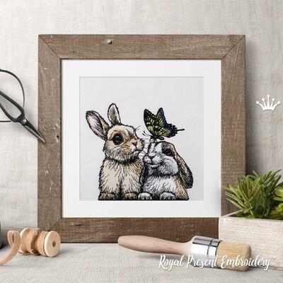 Два Кролика с бабочкой Дизайн машинной вышивки - 5 размеров