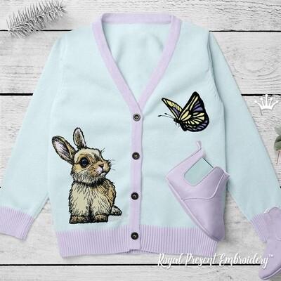 Кролик с бабочкой набор дизайнов машинной вышивки - 6 размеров