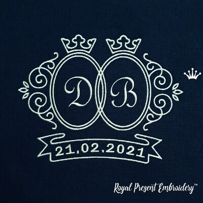 Свадебная Рамка с короной Дизайн машинной вышивки - 4 размера