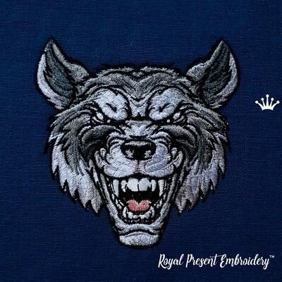 Злобный Волк рычит Дизайн машинной вышивки - 2 размера