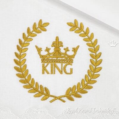 Надпись Король с Короной в Венке Дизайн машинной вышивки - 2 размера