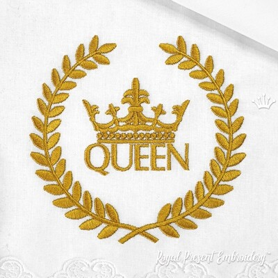Надпись Королева с Короной в Венке Дизайн машинной вышивки - 2 размера
