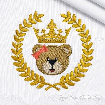 Девочка Медвежонок с Короной в Венке Дизайн машинной вышивки - 2 размера