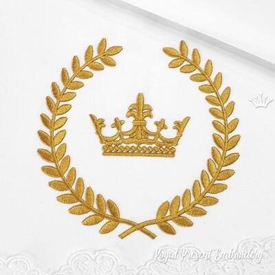 Корона в лавровом Венке Дизайн машинной вышивки - 2 размера