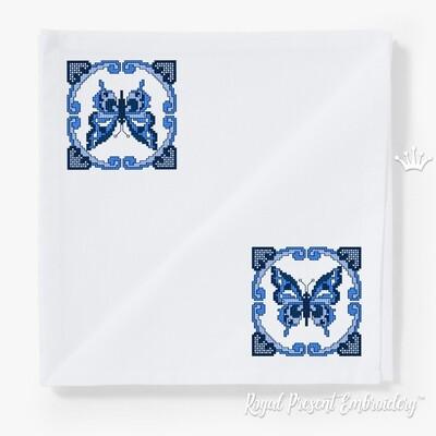 Oрнамент с бабочкой Дизайн машинной вышивки крестом - 2 размера