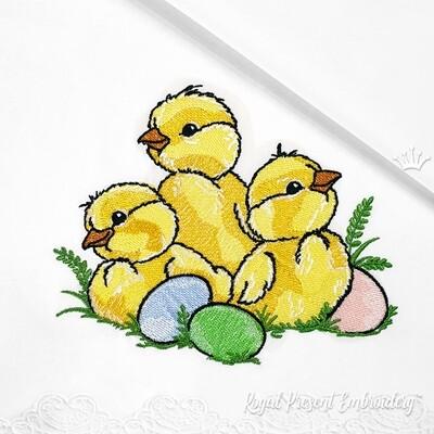 Пасхальные Цыплята с яйцами Дизайн машинной вышивки - 5 размеров