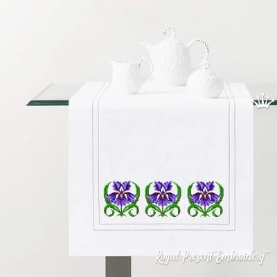 Ирис Дизайн для машинной вышивки крестом бесплатно - 2 размера