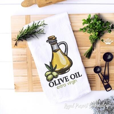 Бутылка Оливковое масло Дизайн машинной вышивки - 3 размера