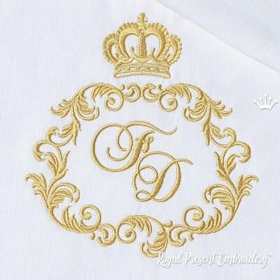Классическое обрамление для монограммы с короной Дизайн машинной вышивки - 4 размера