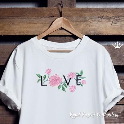Надпись LOVE с Розами Дизайн машинной вышивки -  6 размеров