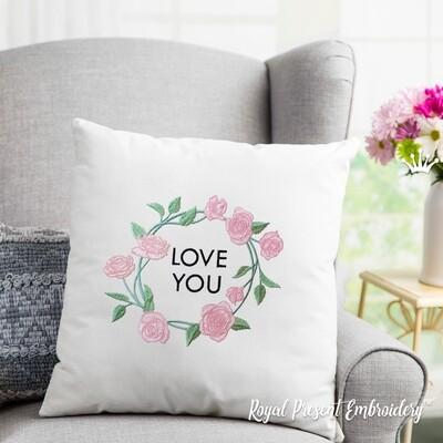 Надпись LOVE с рамкой из Роз Дизайн машинной вышивки -  2 размера