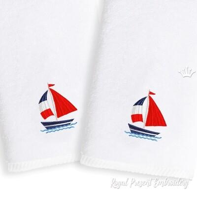 Кораблик Дизайн машинной вышивки