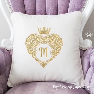 Сердце обрамление для монограммы с короной Дизайн машинной вышивки - 6 размеров