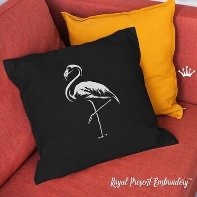 Одноцветный Фламинго Дизайн машинной вышивки - 7 размеров