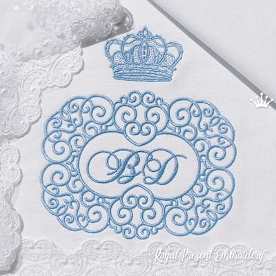 Двойная Свадебная рамка с короной Дизайн машинной вышивки - 3 размера