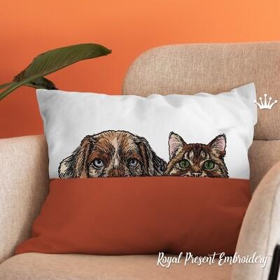 Кот и Пес Дизайны машинной вышивки - 4 размера