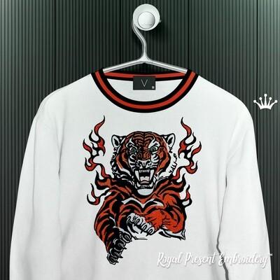 Тигр в огне Дизайн машинной вышивки - 8 размеров