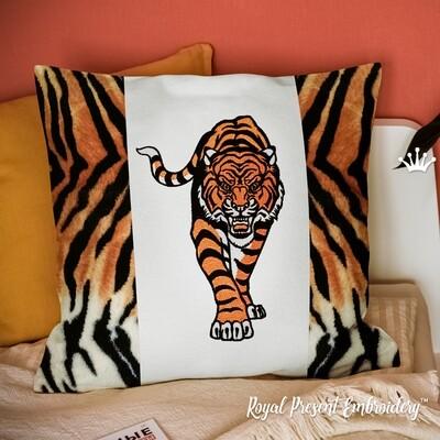 Крадущийся Тигр Дизайн машинной вышивки - 6 размеров