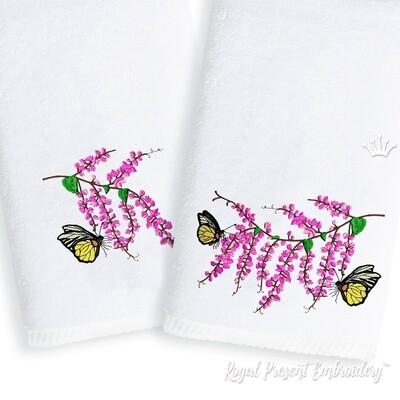 Глициния с Бабочками Дизайны машинной вышивки - 6 размеров