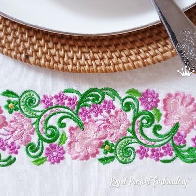 Цветочный бесконечный Бордюр Дизайн машинной вышивки