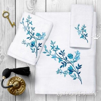 Голубые цветы Дизайны машинной вышивки - 4 размера