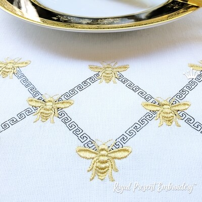 Пчела греческий бордюр Дизайн машинной вышивки