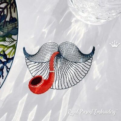 Усы Матроса с трубкой Дизайн машинной вышивки бесплатно