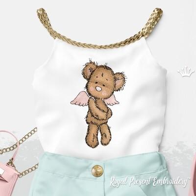 Медвежонок с крыльями ангела Дизайн машинной вышивки  - 4 размера