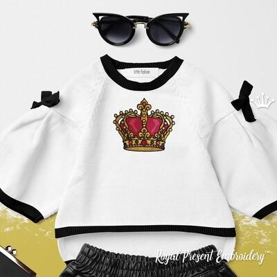 Золотая Королевская Корона Дизайн машинной вышивки