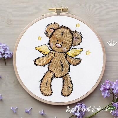 Мишка Ангел со звездами Дизайн машинной вышивки - 4 размера