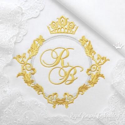 Круглая винтажная рамка с короной Дизайн машинной вышивки - 3 размера