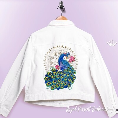 Павлин на цветущей ветке с мандалой Дизайн машинной вышивки - 3 размера