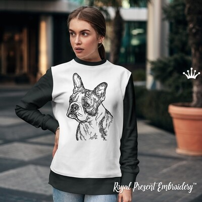 Бостон Терьер ЧБ Портрет Дизайн машинной вышивки - 6 размеров