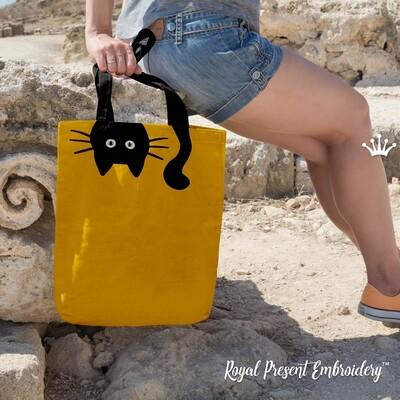 Кот с хвостом Дизайн машинной вышивки с Аппликацией - 2 размера