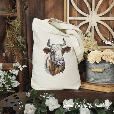 Цветная Племенная Корова Дизайн машинной вышивки - 5 размеров