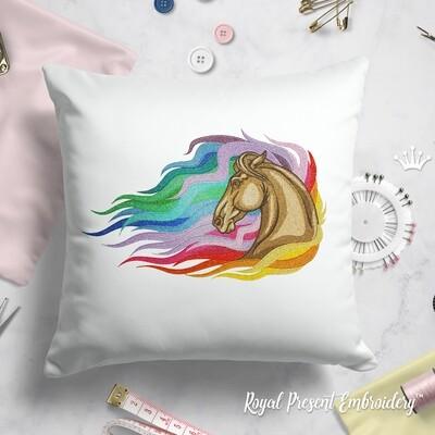 Радужная Лошадь Дизайн машинной вышивки - 4 размера