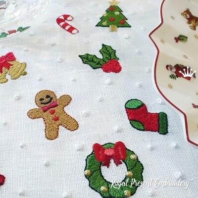 Крошечные Новогодние игрушки раздельно набор дизайнов машинной вышивки - 9 в 1