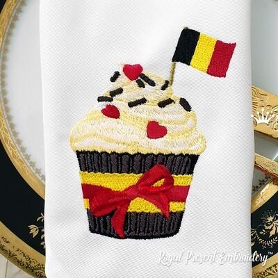 Кекс с флагом Бельгии дизайн машинной вышивки