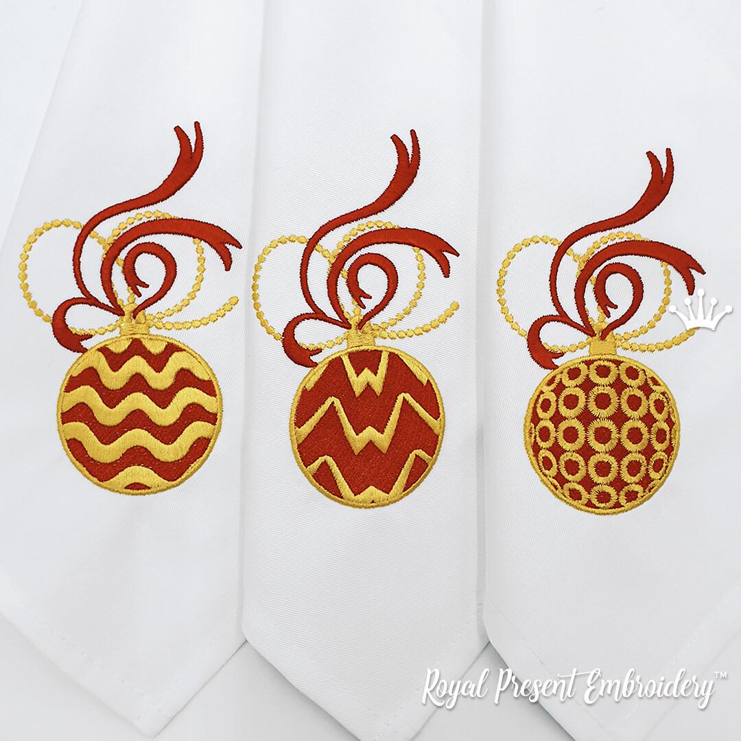 Набор Три Новогодних Шарика Дизайны Машинной Вышивки